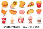 cartoon fast food. hamburger ... | Shutterstock .eps vector #1672417156