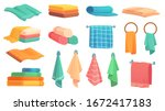 bath towels. cartoon fabric... | Shutterstock .eps vector #1672417183