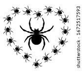 black spiders in the shape of...   Shutterstock .eps vector #1672517593