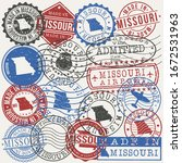 missouri  usa set of stamps.... | Shutterstock .eps vector #1672531963