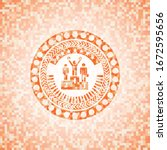 business competition, podium icon inside abstract orange mosaic emblem with background