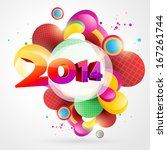 vector colorful happy new year... | Shutterstock .eps vector #167261744