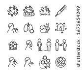 coronavirus line icon set....   Shutterstock .eps vector #1672654249