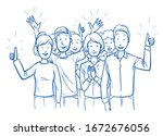 large group of mixed people ... | Shutterstock .eps vector #1672676056