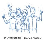 small group of mixed people ... | Shutterstock .eps vector #1672676080