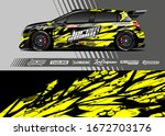 car wrap graphic livery design... | Shutterstock .eps vector #1672703176