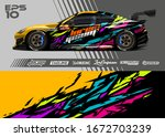 car wrap graphic livery design...   Shutterstock .eps vector #1672703239