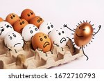 coronavirus. eggs in a box with ...   Shutterstock . vector #1672710793