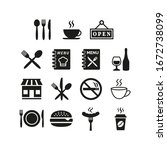 restaurant and cafe icons set... | Shutterstock .eps vector #1672738099