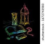 koran book. islamic religious...   Shutterstock .eps vector #1672743583