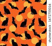 bats and black cat pattern...   Shutterstock .eps vector #1672755016