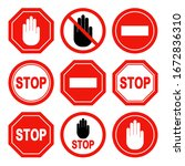 set of the restricted and... | Shutterstock .eps vector #1672836310