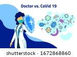 stop coronavirus. woman doctor... | Shutterstock .eps vector #1672868860