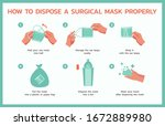 how to dispose a surgical mask...   Shutterstock .eps vector #1672889980
