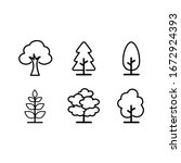 tree icon set isolated on white ... | Shutterstock .eps vector #1672924393