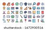 set of icons teachers day  line ... | Shutterstock .eps vector #1672930516