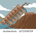 archimedes screw irrigation... | Shutterstock .eps vector #1672938709