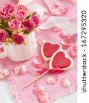 chocolate heart lollipops with... | Shutterstock . vector #167295320