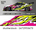 car wrap graphic livery design... | Shutterstock .eps vector #1672953673