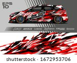 car wrap graphic livery design...   Shutterstock .eps vector #1672953706