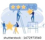 cartoon people giving five star ... | Shutterstock .eps vector #1672973560