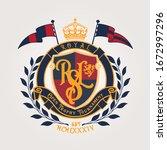 heraldic vintage  vector... | Shutterstock .eps vector #1672997296