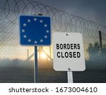 Barbed and razor wire on a...