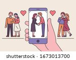 romantic couples are taking... | Shutterstock .eps vector #1673013700