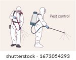 two people in protective... | Shutterstock .eps vector #1673054293