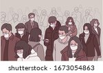 many people on the street are... | Shutterstock .eps vector #1673054863