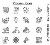 process  data analysis icon set ... | Shutterstock .eps vector #1673085049