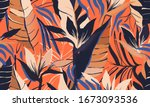 modern exotic jungle plants... | Shutterstock .eps vector #1673093536