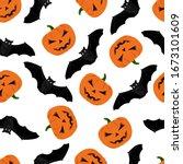 halloween pattern with pumpkin...   Shutterstock .eps vector #1673101609