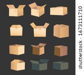 a set of vector boxes. the open ...