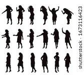 set of vector silhouette of... | Shutterstock .eps vector #1673116423
