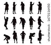 set of vector silhouette of...   Shutterstock .eps vector #1673116450
