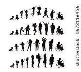 set of vector silhouette of... | Shutterstock .eps vector #1673116456