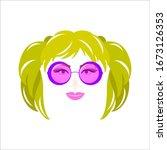 portrait of girl with green... | Shutterstock . vector #1673126353
