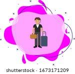 businessman  suitcase cartoon...
