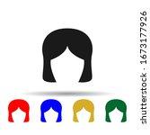 woman haircut retro multi color ...