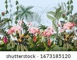 border with pink flamingo in...   Shutterstock .eps vector #1673185120