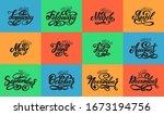calligraphic set of quote hello ... | Shutterstock .eps vector #1673194756