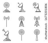 antenna icons set. linear... | Shutterstock .eps vector #1673201806
