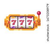 golden slot machine with 777... | Shutterstock .eps vector #1673208979