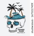 vector skull illustration with... | Shutterstock .eps vector #1673217499