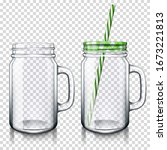 mason jar drinking glass with a ... | Shutterstock .eps vector #1673221813