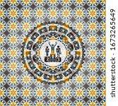 business competition, podium icon inside arabesque emblem. arabic decoration.