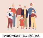 family wearing protective... | Shutterstock .eps vector #1673268556
