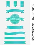 turquoise ribbon set | Shutterstock .eps vector #167327048