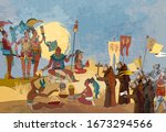 ancient mayan. mural painting.... | Shutterstock .eps vector #1673294566